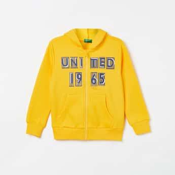 UNITED COLORS OF BENETTON Boys Printed Full Sleeves Hooded Sweatshirt