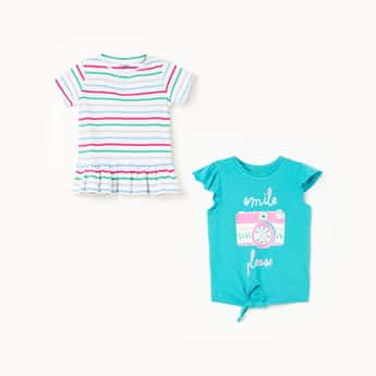 JUNIORS Girls Graphic Print Striped Tops - Pack of 2