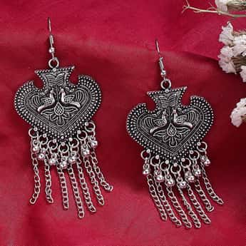 TONIQ Women Oxidised Embossed Drop-Earrings