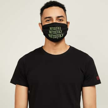 FREE AUTHORITY Men Printed Face Mask with Adjustable Ear Loops