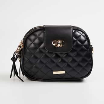 CODE Women Quilted Zip-Closure Sling Bag