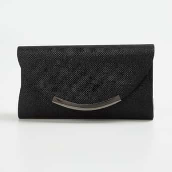 CODE Women Shimmery Clutch with Detachable Strap