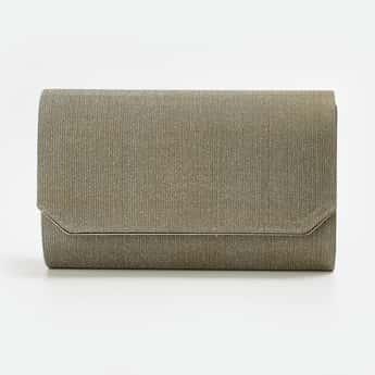 CODE Women Textured Glitter Clutch with Detachable Strap