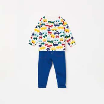 FS MINI KLUB Boys Printed Full Sleeves T-shirt with Pyjamas