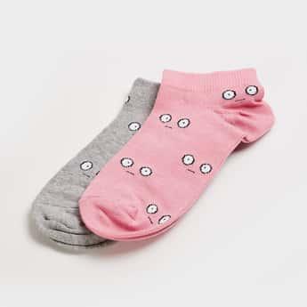 GINGER Women Woven Design Socks- Set of 2