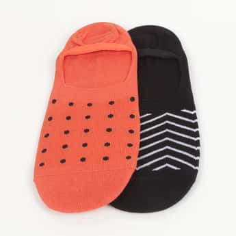 CODE Patterned No-Show Socks - Pair of 2