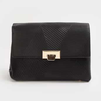 CODE Women Textured Flap-Closure Sling Bag