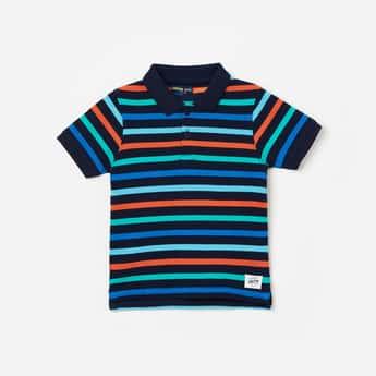 JUNIORS Boys Striped Short Sleeves Polo T-shirt