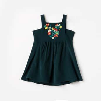 JUNIORS Girls Embroidered Pinafore Dress