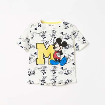 JUNIORS Boys Mickey Mouse Print Crew Neck T-shirt