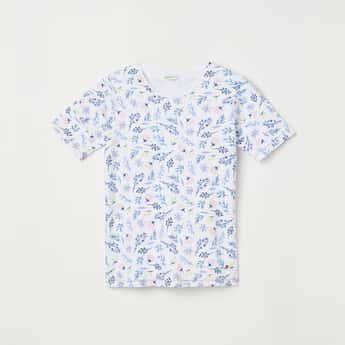 BOSSINI Girls Floral Print Round Neck T-shirt