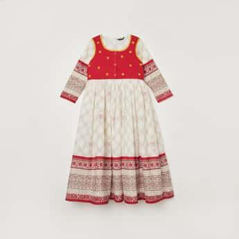 MELANGE Girls Printed Flared A-Line Dress with Embellished Jacket
