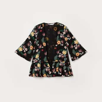 FAME FOREVER YOUNG Girls Floral Print Open-Front Shrug
