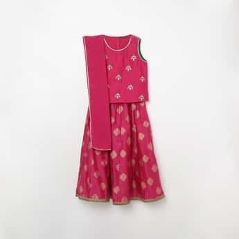 MELANGE Girls Embroidered Blouse with Lehenga and Dupatta