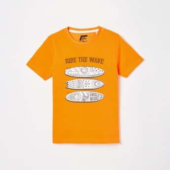 FAME FOREVER KIDS Boys Graphic Print Crew Neck T-shirt