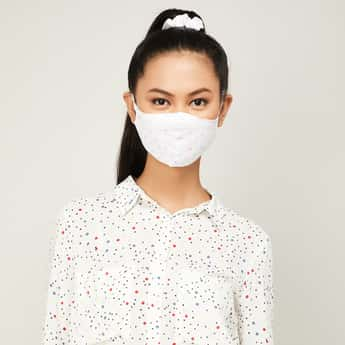 GINGER Women Printed Face Mask with Scrunchie