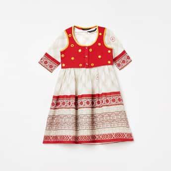 MELANGE Girls Printed A-line Dress with Koti Jacket