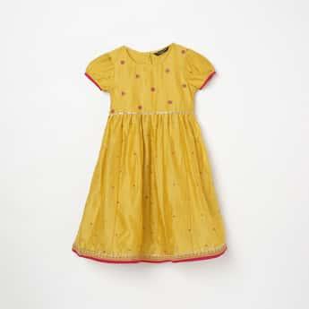 MELANGE Girls Embroidered Ethnic A-Line Dress