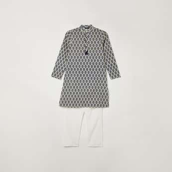 MELANGE Boys Printed Kurta with Elasticated Solid Pyjamas