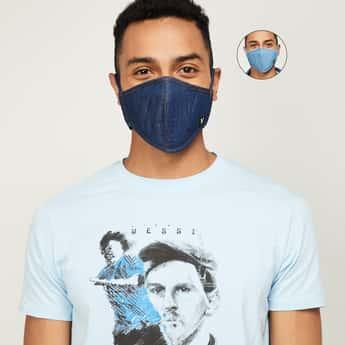 VAN HEUSEN Men Solid Anti-Viral Denim Face Mask - Set of 2