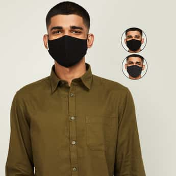 ALLEN SOLLY Men Solid Protective Face Mask - Set of 3
