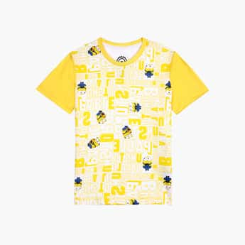 KIDSVILLE Boys Minions Printed Crew Neck T-shirt