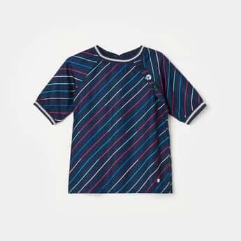 ALLEN SOLLY Girls Striped Round Neck T-shirt