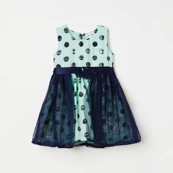PEPPERMINT Girls Polka Dot Print Layered A-line Dress