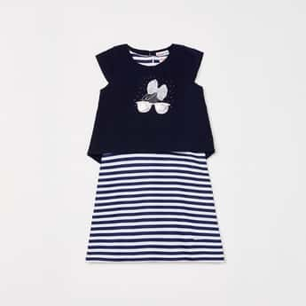 PEPPERMINT Girls Striped Dress with Embellished Top