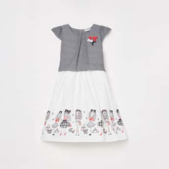 PEPPERMINT Girls Printed Fit and Flare Dress