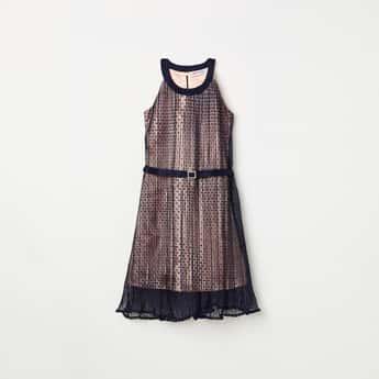 PEPPERMINT Girls Textured Halter Neck Maxi Dress