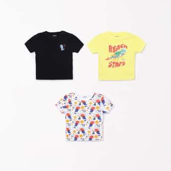 JUNIORS Boys Printed Crew Neck T-shirt- Pack of 3