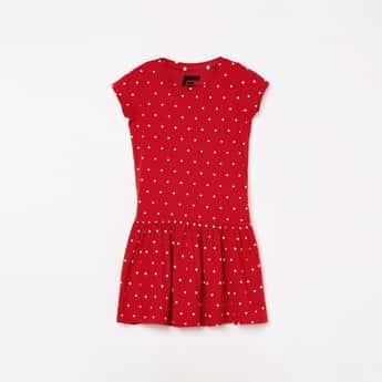 FAME FOREVER KIDS Girls Polka Dot Print Fit and Flare Dress