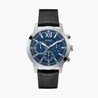 GUESS Men Multifunctional Watch with Leather Strap - GW0219G1