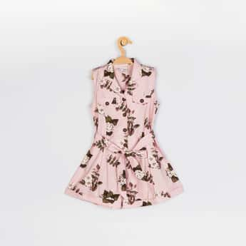 PEPPERMINT Girls Floral Printed Woven Jumpsuit