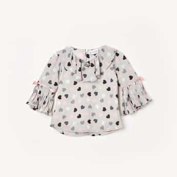 PEPPERMINT Girls Printed Woven Round Neck Top