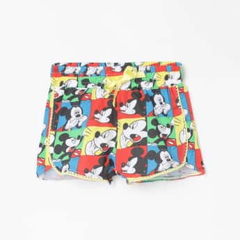 KIDSVILLE Girls Mickey Mouse Print Elasticated Shorts