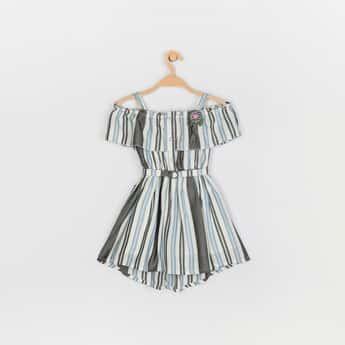 PEPPERMINT Girls Striped Cold-Shoulder Dress