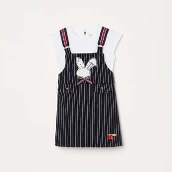 PEPPERMINT Girls Sequin Embellished Dungarees with Top