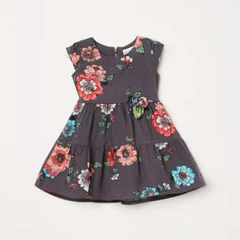 PEPPERMINT Girls Floral Print Fit and Flare Tiered Dress