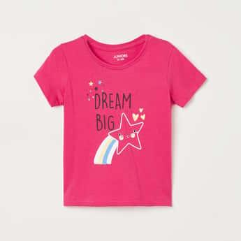 JUNIORS Girls Printed Round Neck T-shirt