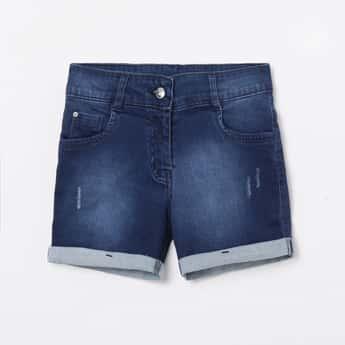 PEPPERMINT Girls Light-Washed Denim Shorts