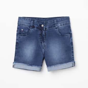PEPPERMINT Girls Lightly Washed Denim Shorts