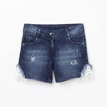 PEPPERMINT Girls Lightly Washed Distressed Denim Shorts