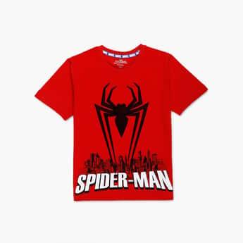 KIDSVILLE Boys Spiderman Printed Crew Neck T-shirt