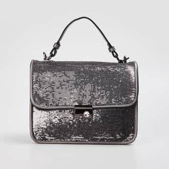 CODE Women Sequinned Satchel Bag