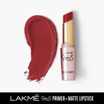 LAKME 9 To 5 Primer + Matte Lipstick- Cherry Chic- 3.6g