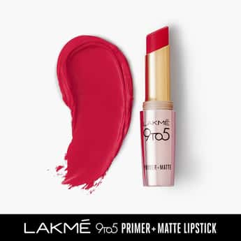 LAKME 9 To 5 Primer + Matte Lipstick- Iconic - Red- 3.6g