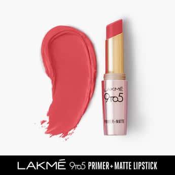 LAKME 9 To 5 Primer + Matte Lipstick- Peachy Affair- 3.6g