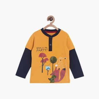 FS MINI KLUB Boys Graphic Print Henley T-shirt